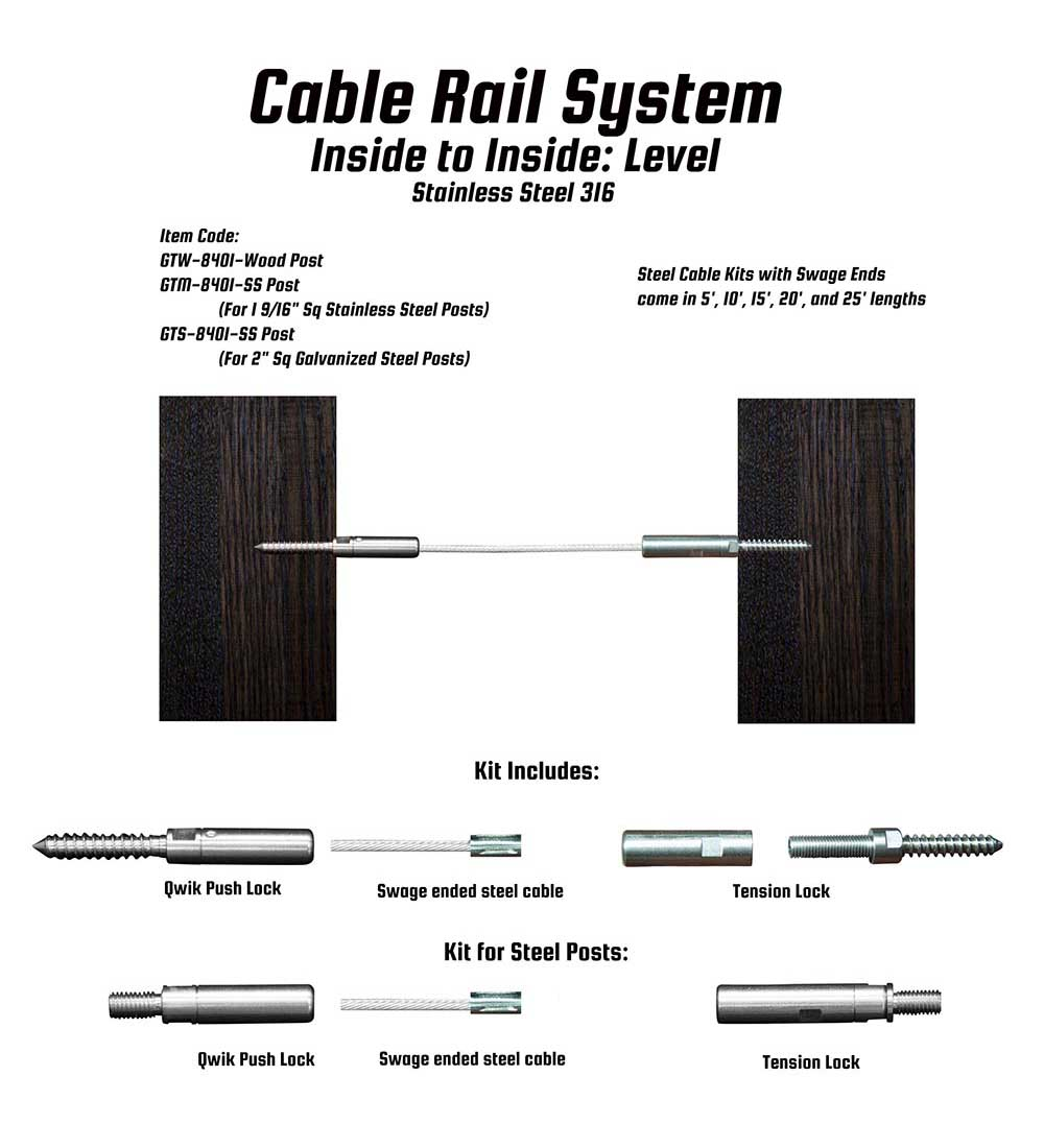 LAJ Wood: Cable Rail System Inside Level