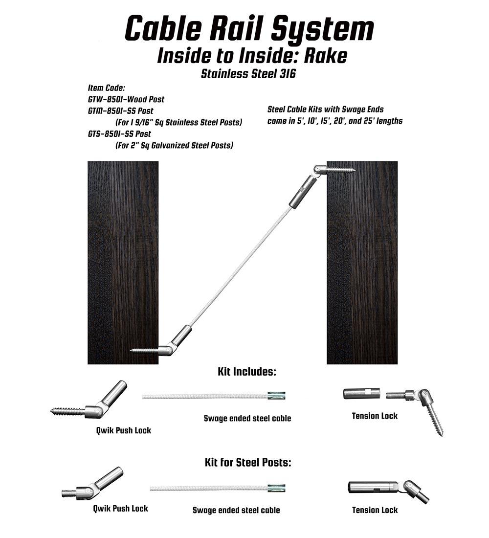LAJ Wood: Cable Rail System Inside Rake